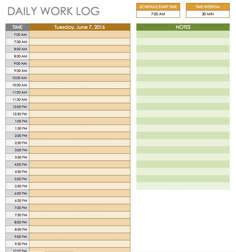daily work log template free daily schedule templates for excel smartsheet