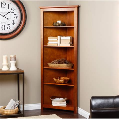 Corner Bookcase Ideas Finley Home Redford Corner Bookcase Oak Finally The Place Where Your Walls Come Together