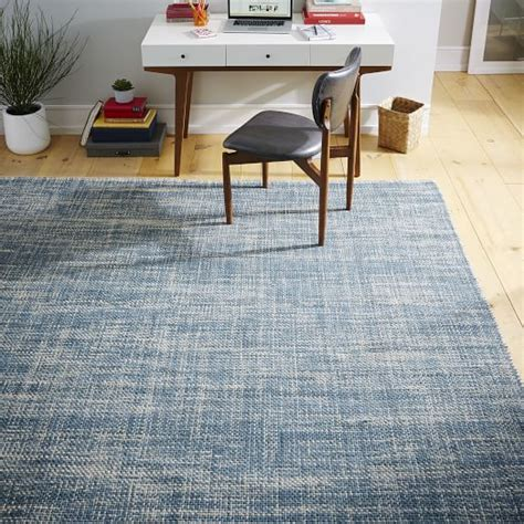 mid century area rugs mid century heathered basketweave wool rug midnight