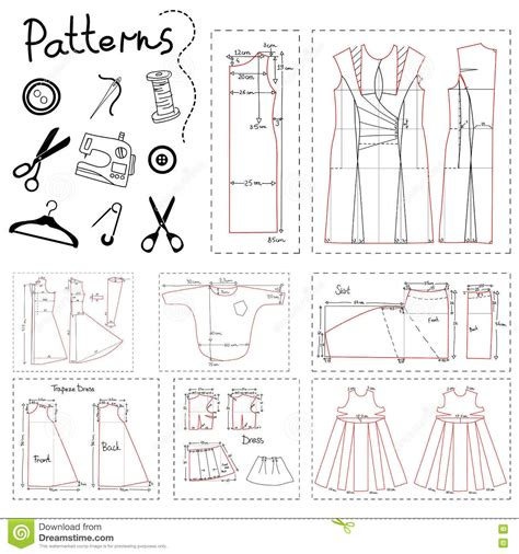 svg sewing pattern set of patterns of women clothes and elements of sewing
