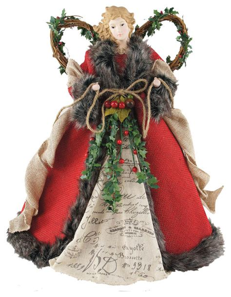 16 quot red homespun angel tree topper traditional