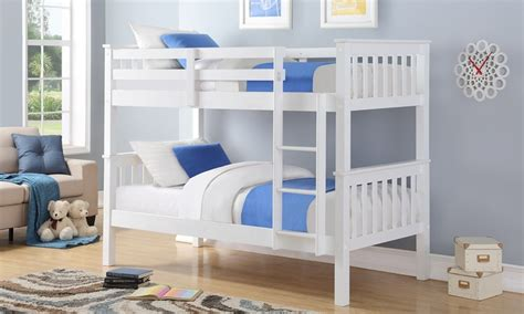 Bunk Beds Deals Harmony Wooden White Bunk Bed Groupon Goods