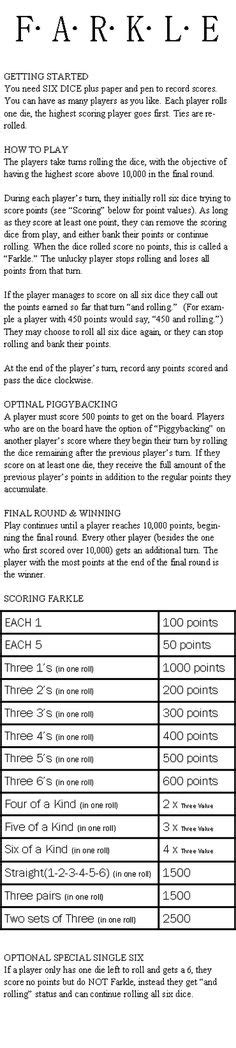 printable directions for farkle 1000 images about math games on pinterest scores dice