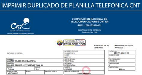 imprimir duplicado de planillas de cnel imprimir duplicado de factura cnt planilla telef 243 nica por