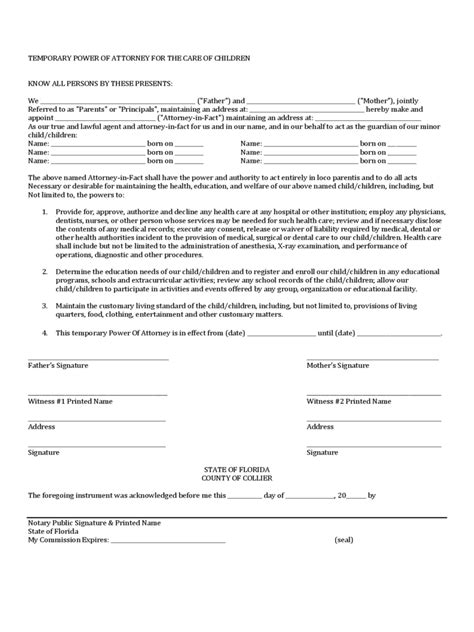 temporary power of attorney template power of attorney for minor child form 7 free templates
