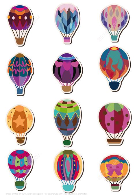 printable animal balloon decals printable hot air balloon stickers free printable