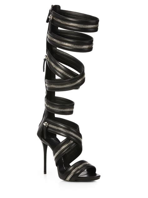 black high gladiator sandals giuseppe zanotti leather knee high zipper gladiator