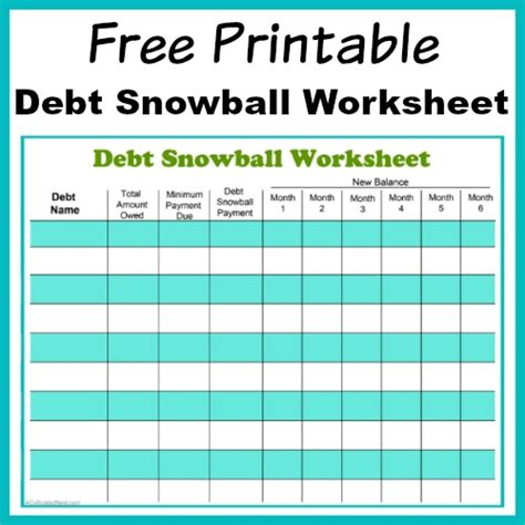 printable debt snowball worksheet pay   debt