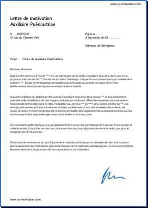 Lettre De Motivation De Puéricultrice Candidature Pour Un Poste De Auxiliaire Pu 233 Ricultrice