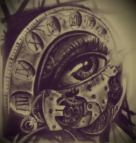 clock tattoo design the eye clock design ideas