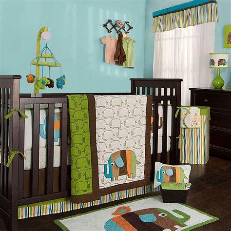 elephant nursery bedding sets kidsline zutano elephants 4 crib bedding set