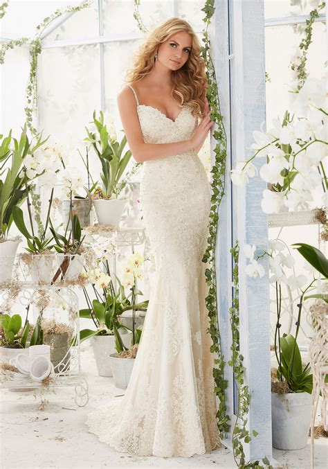 Beaded Wedding Gown by Diamante Beaded Straps On Soft Net Wedding Dress Style