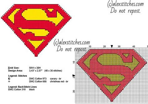 cross stitch pattern superman logo superman original logo with backstitch 48 x 36 small size