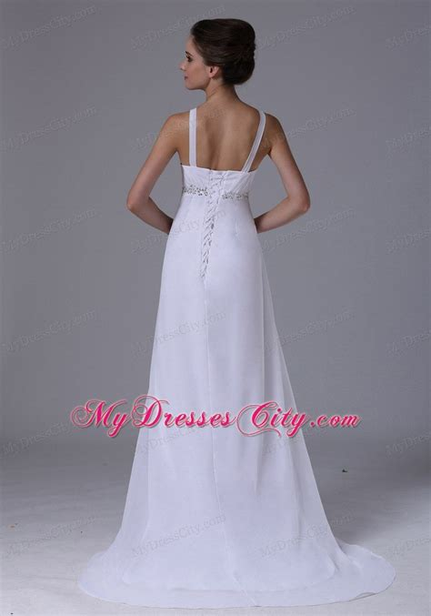 beaded empire waist wedding dress beaded waist empire chiffon straps wedding dress with lace