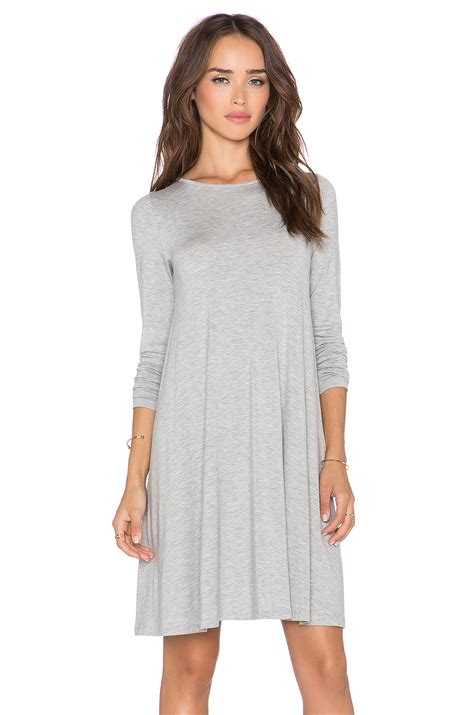 swing dress with sleeves blq basiq stretch jersey swing dress in gray grey lyst