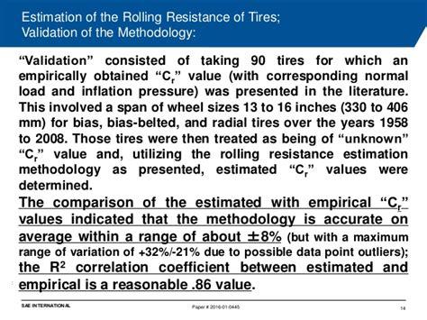 estimation   rolling resistance  tires
