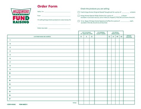 printable special order forms special order doughnut form krispy kreme