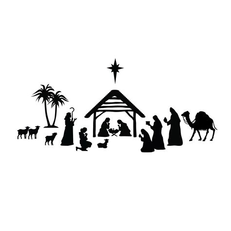 Free Cricut Craft Room Files - nativity scene holidays christmas vinyl wall art decal for homes offices kids rooms