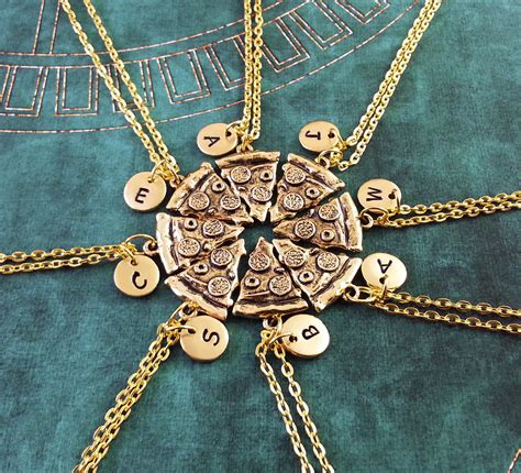 pizza friendship necklaces set of 8 initial necklace