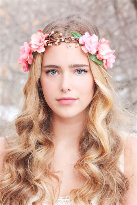 Flower Crown peachy floral hair crown woodland flower crown bridal