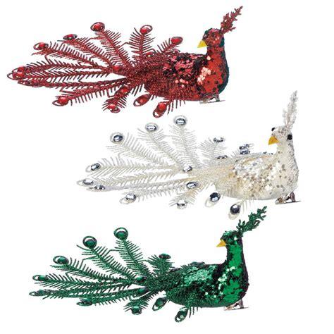peacock christmas ornaments cheap festive peacock ornament set wholesale at koehler home decor