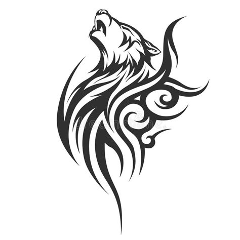 tribal tattoo wolf designs stock vector illustration of