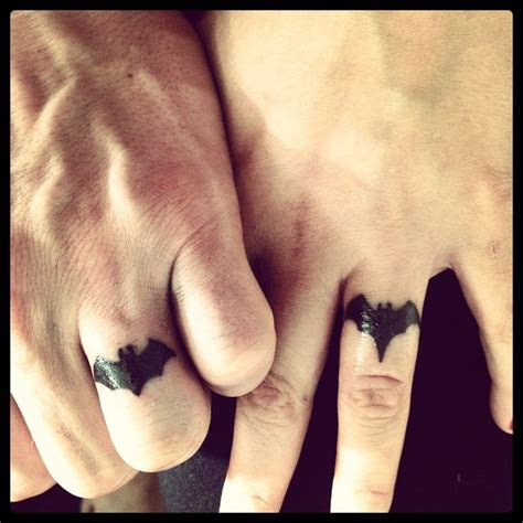 batman batgirl wedding ring tattoo my husband and i