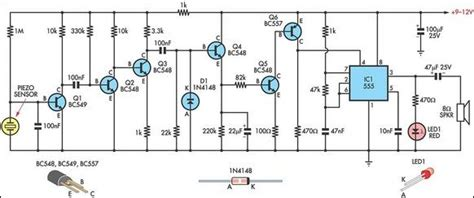 piezoelectric sensor circuit diagram simple knock alarm with piezo sensor circuit diagram
