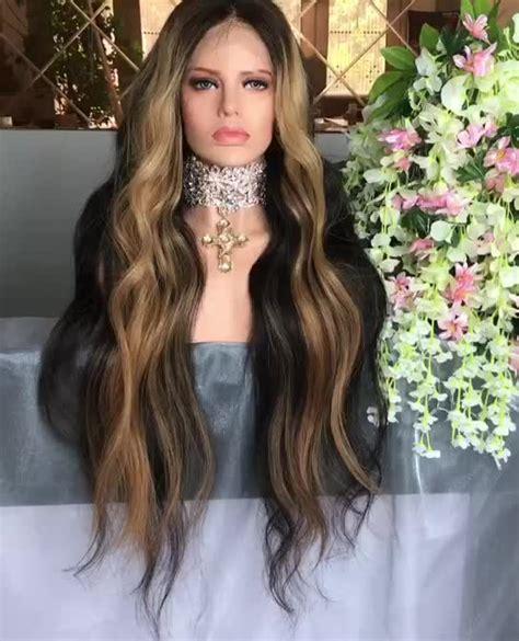 Manik Rambut Mix Warna 2 kualitas tinggi two tone bergelombang brasil perawan rambut manusia renda depan wig warna