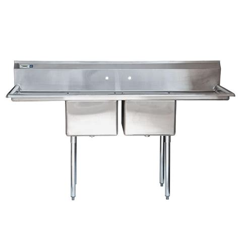 commercial sinks regency 72 quot 16 stainless steel two compartment commercial sink with 2 drainboards 17 quot x