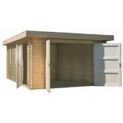 garage bois toit plat garage en bois 34 mm toit plat l380 x l536 cm achat