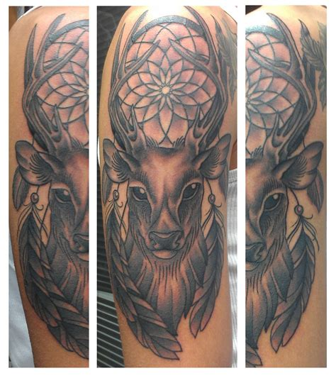 dreamcatcher sleeve tattoo grey ink deer dreamcatcher on half sleeve