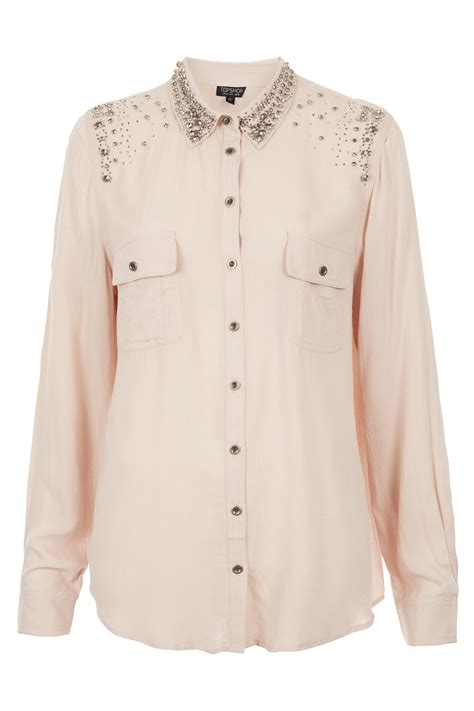 topshop casual embellished shirt in lyst