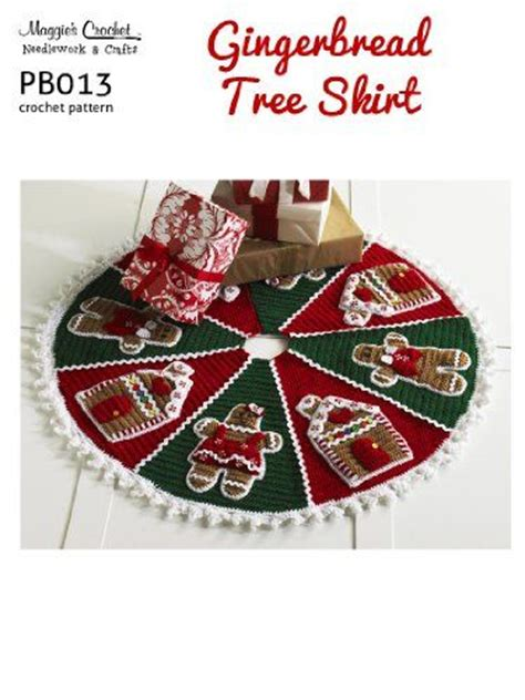 crochet pattern gingerbread christmas tree skirt pb013 r