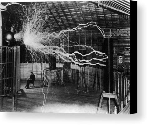 tesla and electricity nikola tesla bolts of electricity canvas print canvas