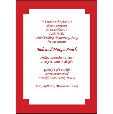 40th wedding anniversary invitations 25 personalized 40th wedding anniversary invitations