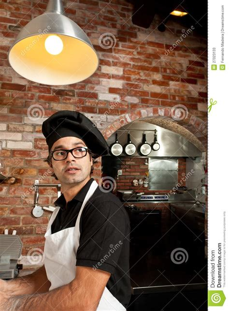 Standing In The Kitchen by Pizza Chef Standing In The Kitchen Working Stock Photos
