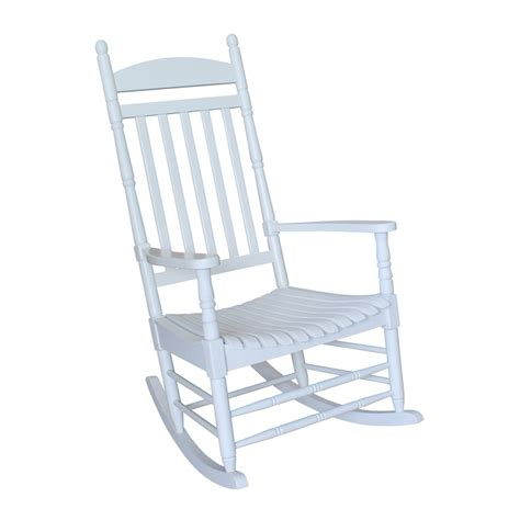 Patio Rocking Chairs Wood Shop International Concepts White Wood Slat Seat Outdoor Rocking Chair At Lowes