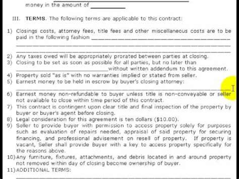 Free Real Estate Purchase Contract Pt 2 Of 2 Step By Step Youtube Wholesale Purchase Agreement Template