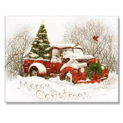 vintage christmas tree truck lighted canvas art 16652959 overstock com shopping the best