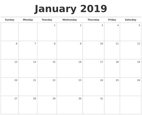 Calendar 2019 January January 2019 Blank Monthly Calendar