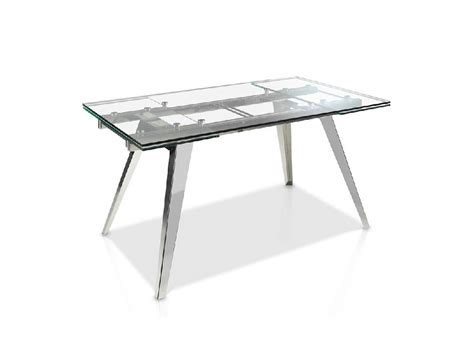 mesa de comedor extensible de cristal templado  base de