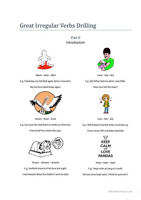 verb pattern permit irregular verb drilling 2 worksheet free esl printable