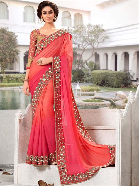 which colour blouse suits for pink saree indian saree designs pink with peach color indian party