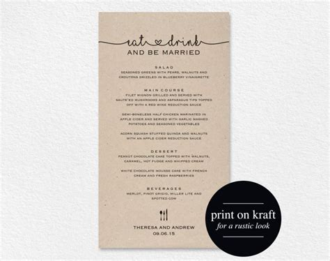 5 course meal menu template wedding menu printable wedding menu template wedding