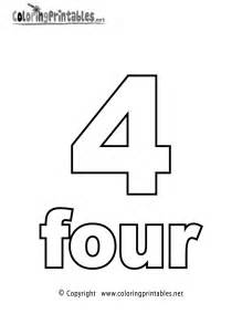4 color print number four coloring page printable numbers activities