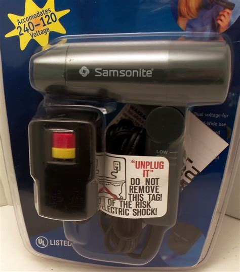 samsonite compact hair dryer small travel size new 120 240 volts traveler hair dryers