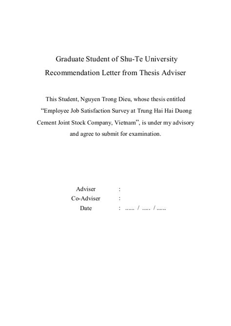 Reference Letter For Administrative Employee Thesis Satisfaction Trung Hai Company