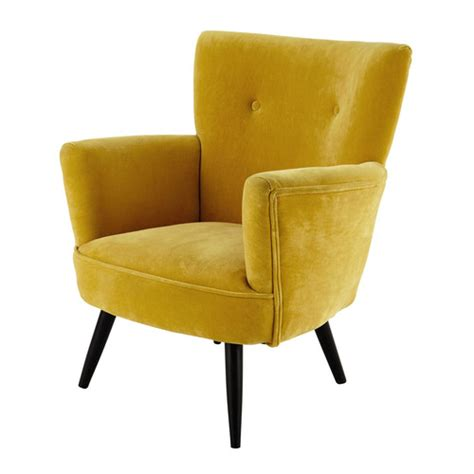 yellow velvet armchair velvet armchair in yellow sao paulo maisons du monde