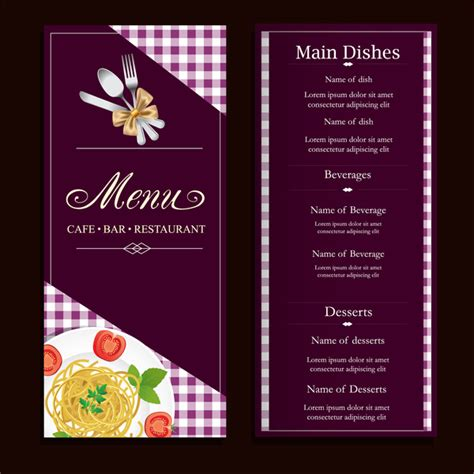 menu card design template images restaurant menu design with classical violet background